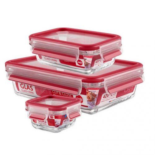 EMSA玻璃保鮮盒3件組 紅(514169) 0....